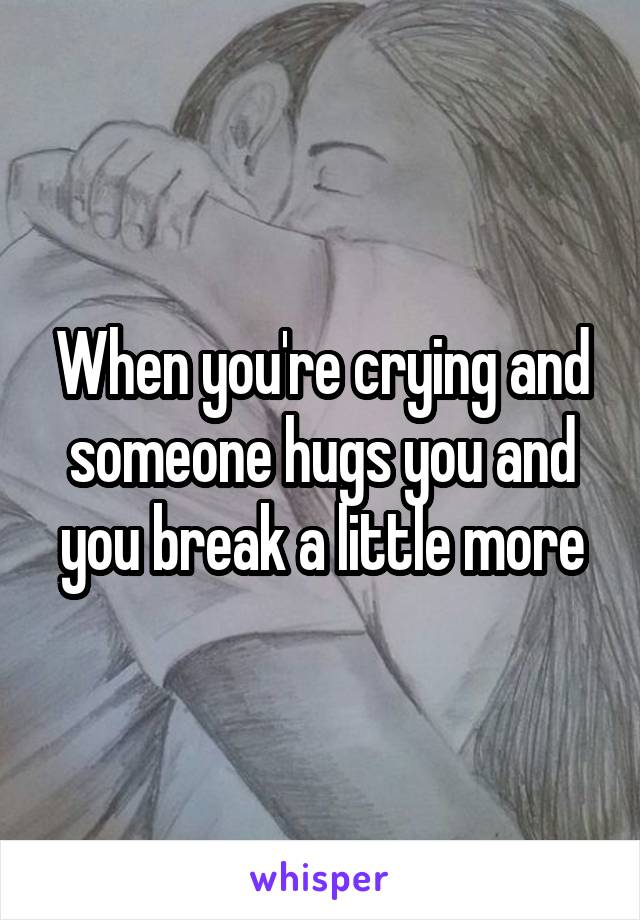 When you're crying and someone hugs you and you break a little more