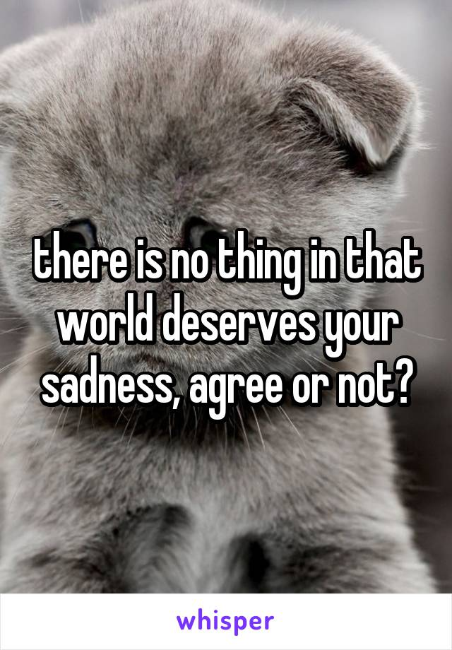 there is no thing in that world deserves your sadness, agree or not?