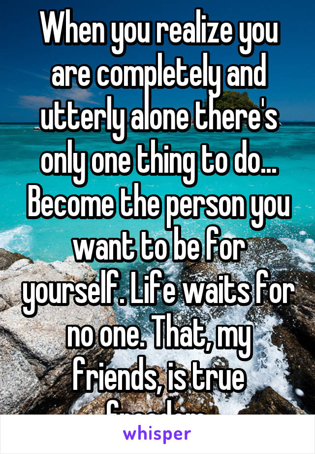 When you realize you are completely and utterly alone there's only one thing to do... Become the person you want to be for yourself. Life waits for no one. That, my friends, is true freedom.