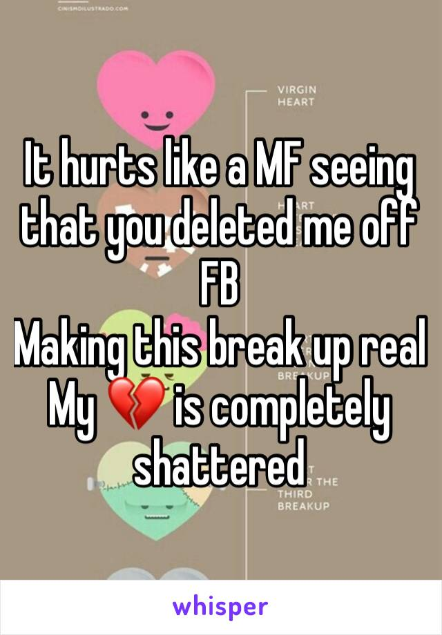 It hurts like a MF seeing that you deleted me off FB Making this break up real My 💔 is completely shattered
