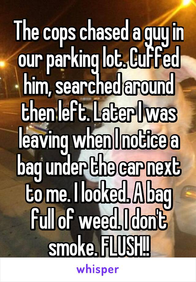 The cops chased a guy in our parking lot. Cuffed him, searched around then left. Later I was leaving when I notice a bag under the car next to me. I looked. A bag full of weed. I don't smoke. FLUSH!!
