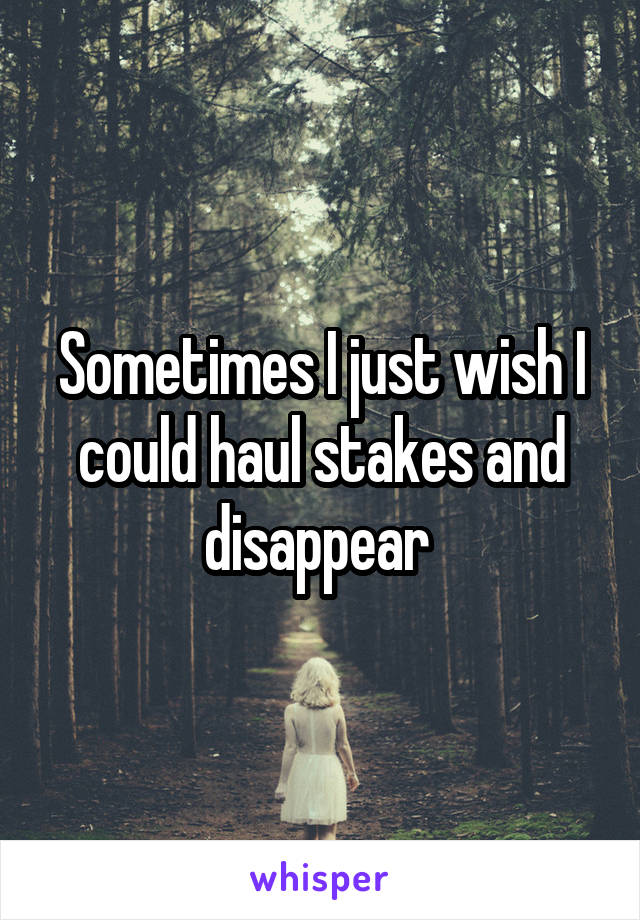 Sometimes I just wish I could haul stakes and disappear