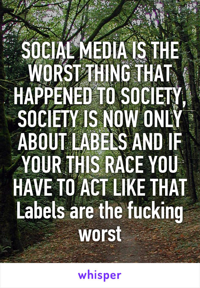 SOCIAL MEDIA IS THE WORST THING THAT HAPPENED TO SOCIETY, SOCIETY IS NOW ONLY ABOUT LABELS AND IF YOUR THIS RACE YOU HAVE TO ACT LIKE THAT Labels are the fucking worst