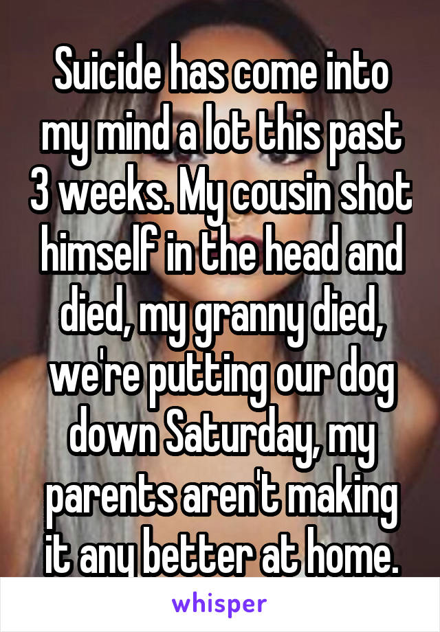 Suicide has come into my mind a lot this past 3 weeks. My cousin shot himself in the head and died, my granny died, we're putting our dog down Saturday, my parents aren't making it any better at home.