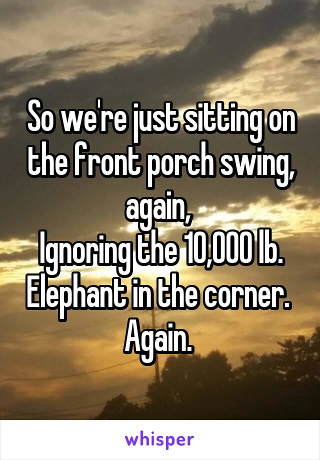 So we're just sitting on the front porch swing, again,  Ignoring the 10,000 lb. Elephant in the corner.  Again.
