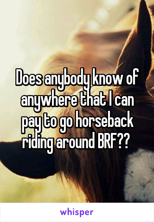 Does anybody know of anywhere that I can pay to go horseback riding around BRF??