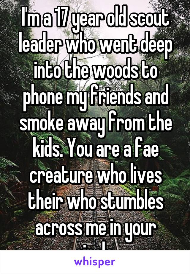 I'm a 17 year old scout leader who went deep into the woods to phone my friends and smoke away from the kids. You are a fae creature who lives their who stumbles across me in your circle.