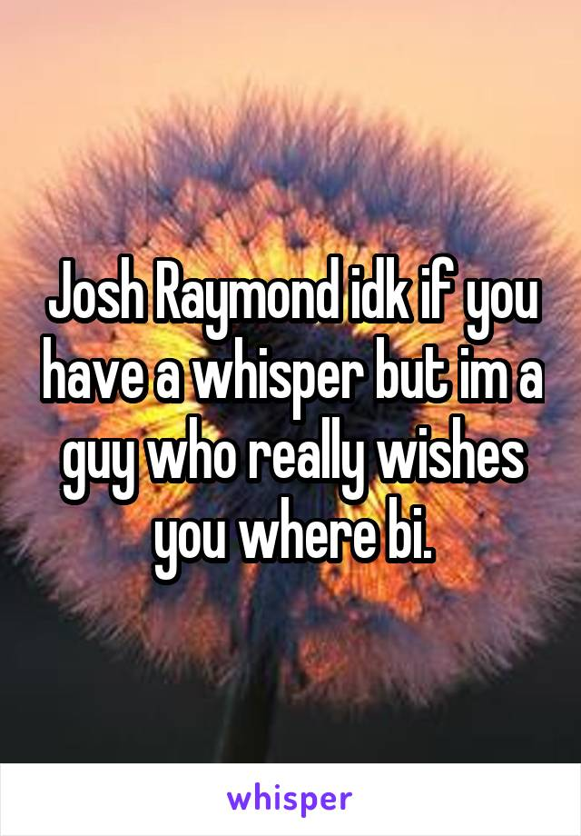 Josh Raymond idk if you have a whisper but im a guy who really wishes you where bi.