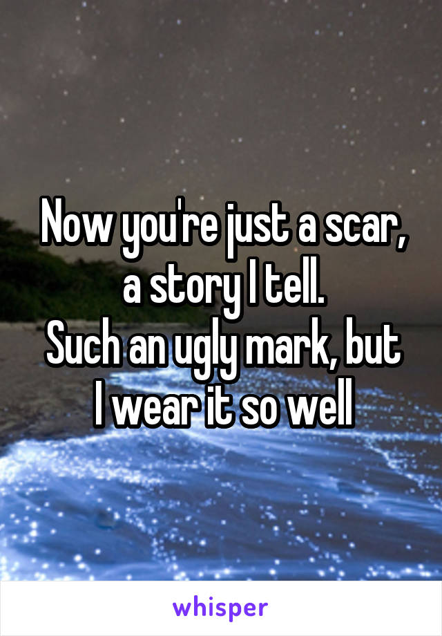 Now you're just a scar, a story I tell. Such an ugly mark, but I wear it so well