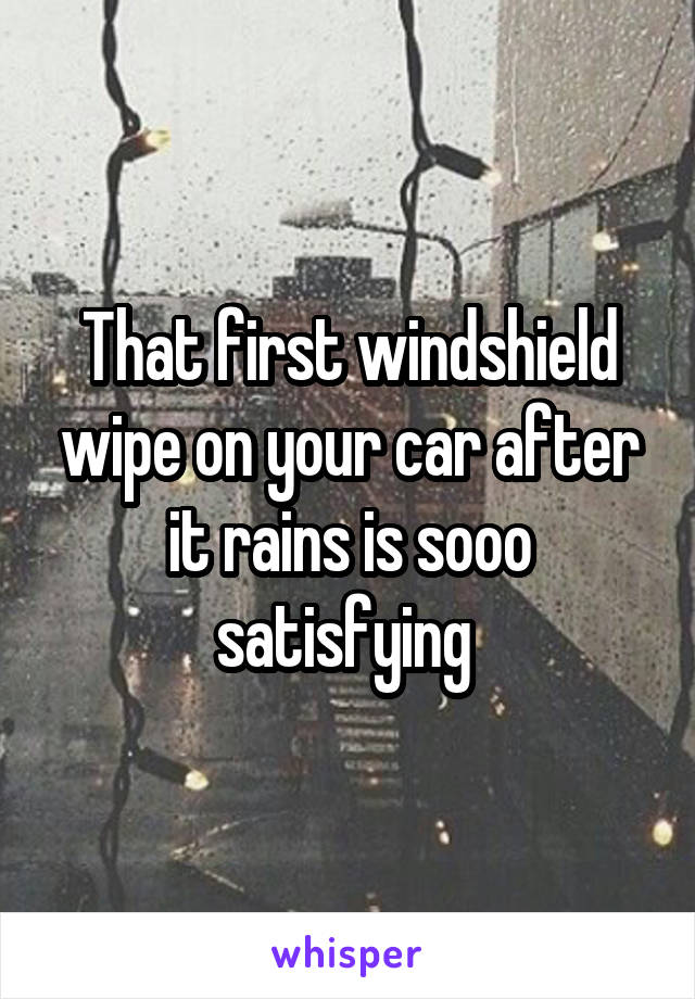 That first windshield wipe on your car after it rains is sooo satisfying