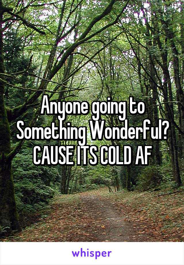 Anyone going to Something Wonderful? CAUSE ITS COLD AF