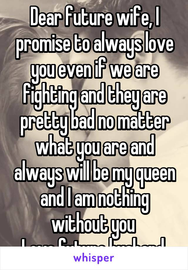 Dear future wife, I promise to always love you even if we are fighting and they are pretty bad no matter what you are and always will be my queen and I am nothing without you  Love future husband