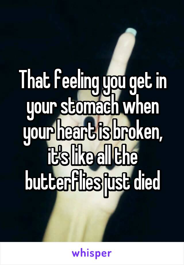 That feeling you get in your stomach when your heart is broken, it's like all the butterflies just died
