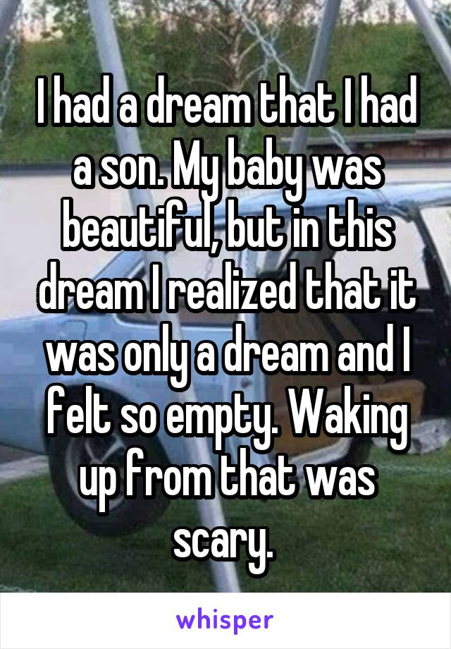 I had a dream that I had a son. My baby was beautiful, but in this dream I realized that it was only a dream and I felt so empty. Waking up from that was scary.