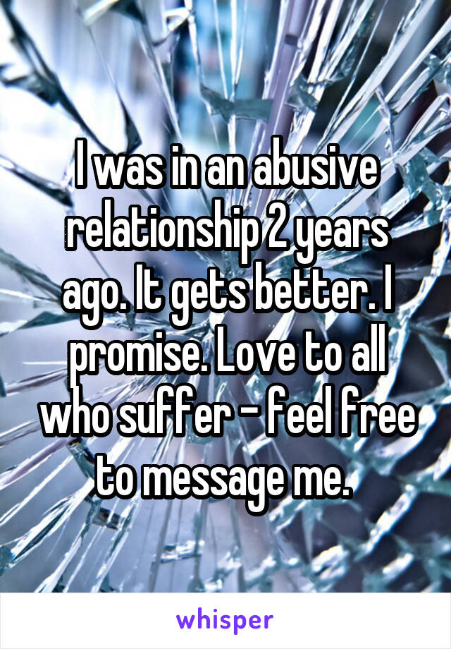 I was in an abusive relationship 2 years ago. It gets better. I promise. Love to all who suffer - feel free to message me.