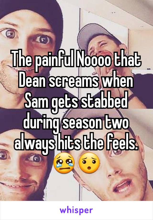 The painful Noooo that Dean screams when Sam gets stabbed during season two always hits the feels. 😢😯