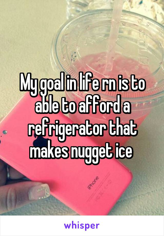 My goal in life rn is to able to afford a refrigerator that makes nugget ice