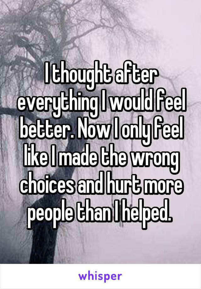 I thought after everything I would feel better. Now I only feel like I made the wrong choices and hurt more people than I helped.