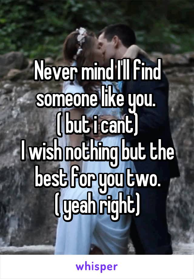 Never mind I'll find someone like you.  ( but i cant) I wish nothing but the best for you two. ( yeah right)