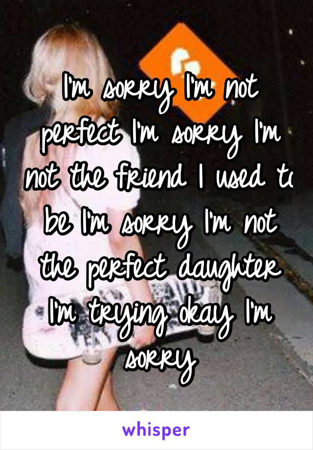 I'm sorry I'm not perfect I'm sorry I'm not the friend I used to be I'm sorry I'm not the perfect daughter I'm trying okay I'm sorry