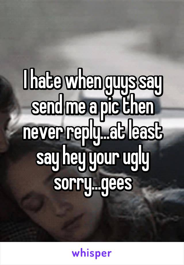 I hate when guys say send me a pic then never reply...at least say hey your ugly sorry...gees