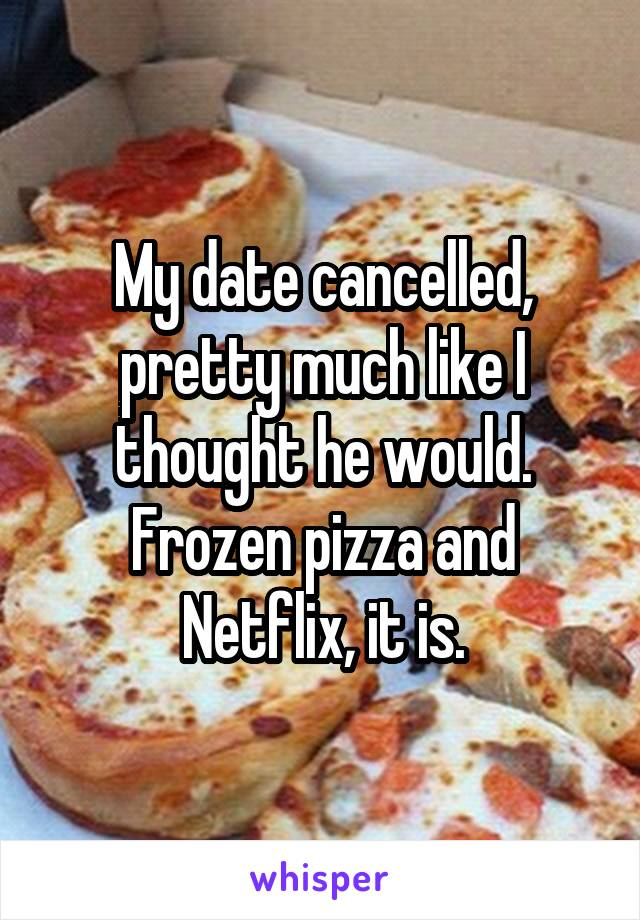My date cancelled, pretty much like I thought he would. Frozen pizza and Netflix, it is.