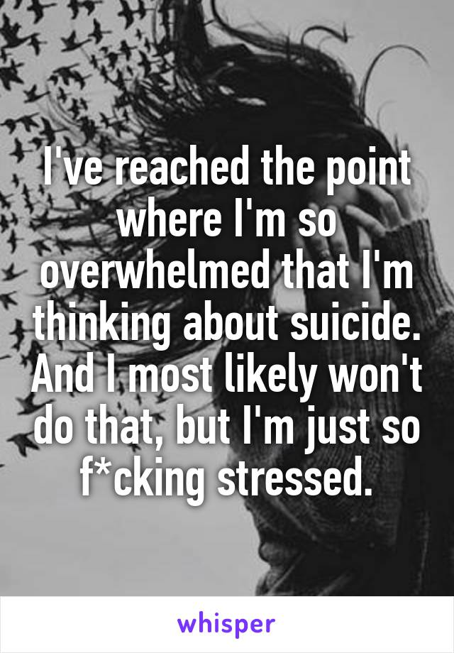 I've reached the point where I'm so overwhelmed that I'm thinking about suicide. And I most likely won't do that, but I'm just so f*cking stressed.