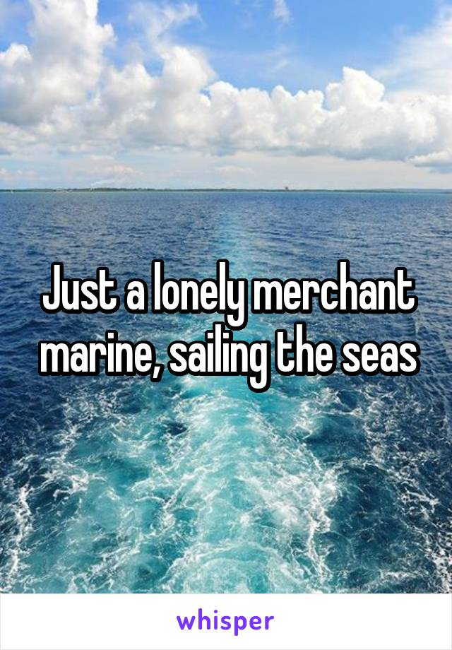 Just a lonely merchant marine, sailing the seas