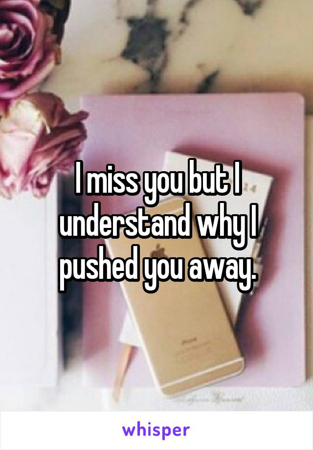 I miss you but I understand why I pushed you away.