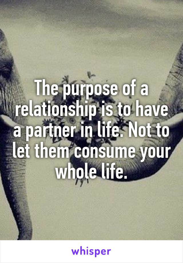 The purpose of a relationship is to have a partner in life. Not to let them consume your whole life.