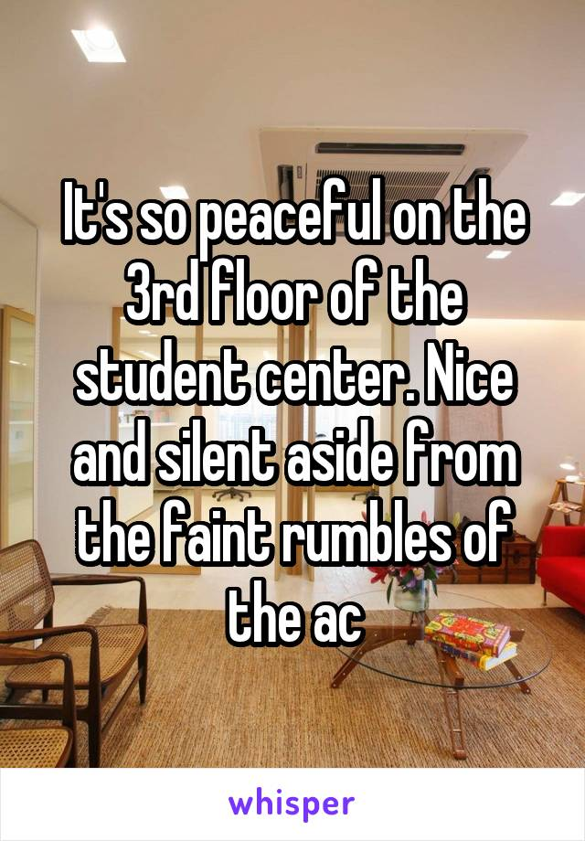 It's so peaceful on the 3rd floor of the student center. Nice and silent aside from the faint rumbles of the ac