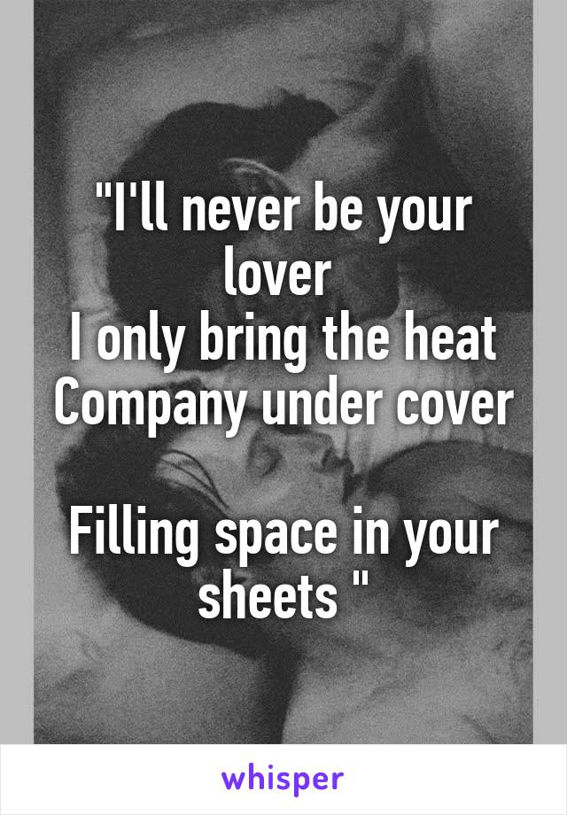 """I'll never be your lover  I only bring the heat Company under cover  Filling space in your sheets """