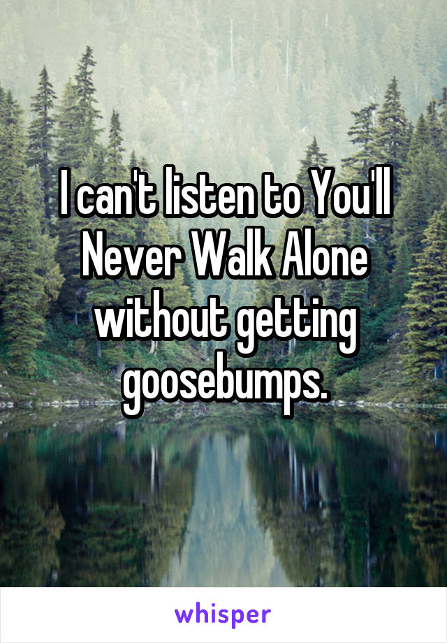 I can't listen to You'll Never Walk Alone without getting goosebumps.