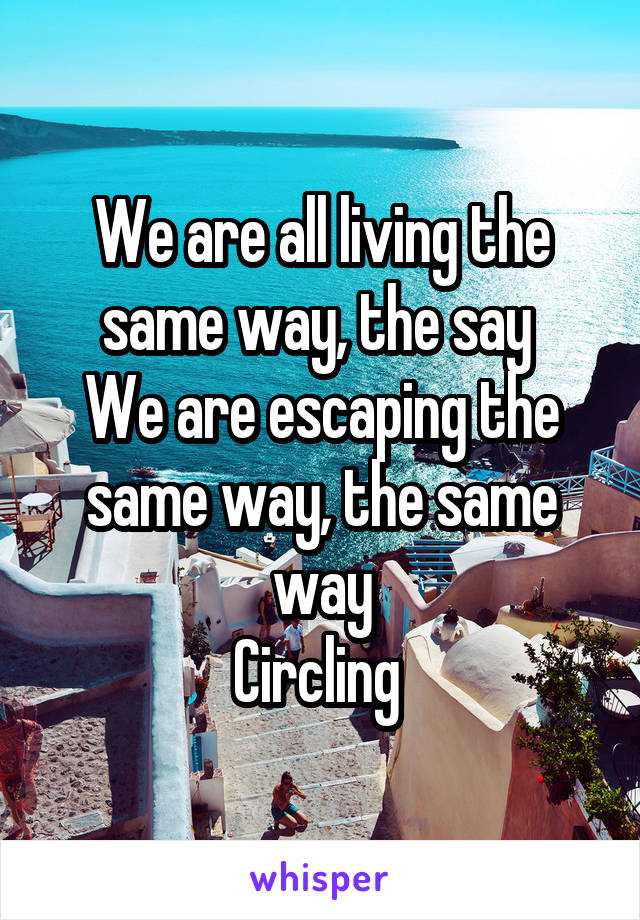 We are all living the same way, the say  We are escaping the same way, the same way Circling