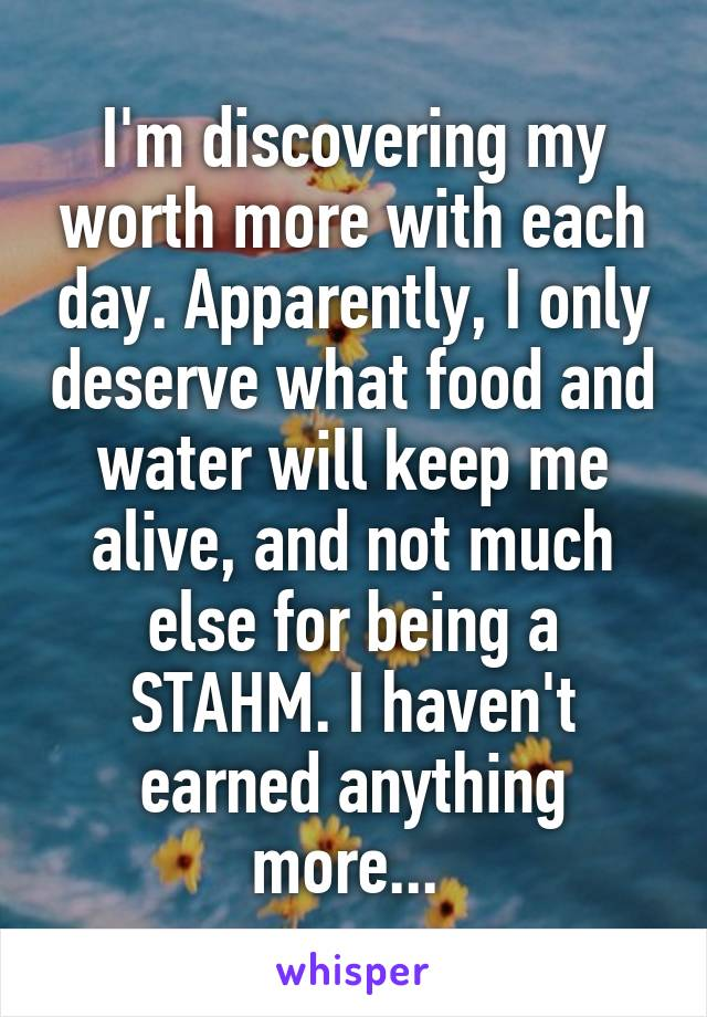 I'm discovering my worth more with each day. Apparently, I only deserve what food and water will keep me alive, and not much else for being a STAHM. I haven't earned anything more...