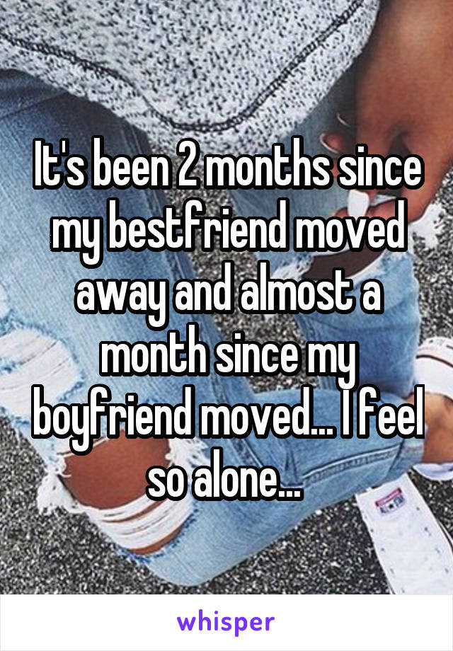 It's been 2 months since my bestfriend moved away and almost a month since my boyfriend moved... I feel so alone...