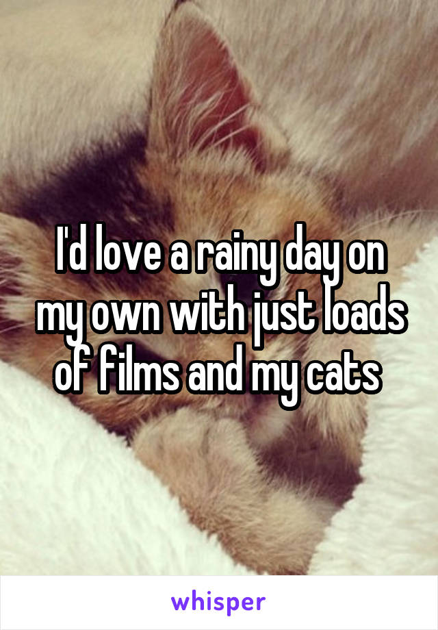 I'd love a rainy day on my own with just loads of films and my cats