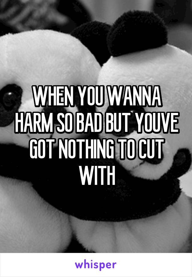 WHEN YOU WANNA HARM SO BAD BUT YOUVE GOT NOTHING TO CUT WITH