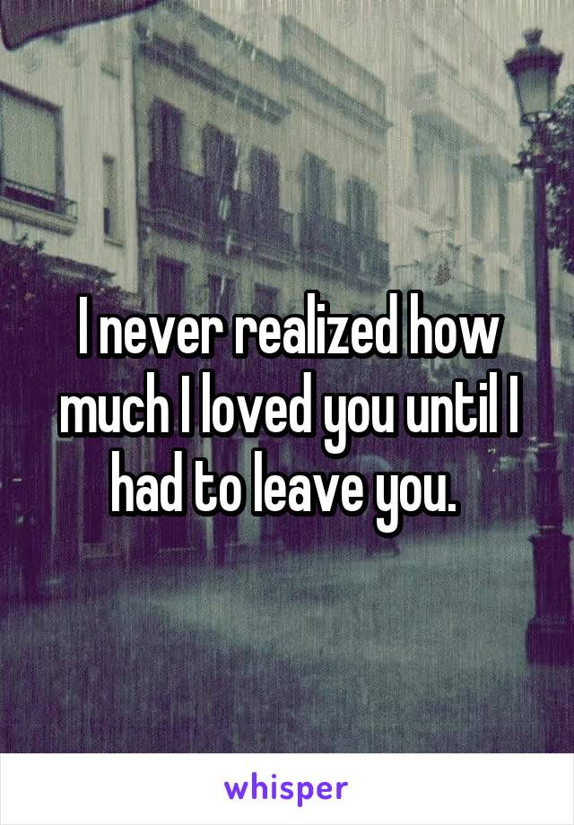 I never realized how much I loved you until I had to leave you.