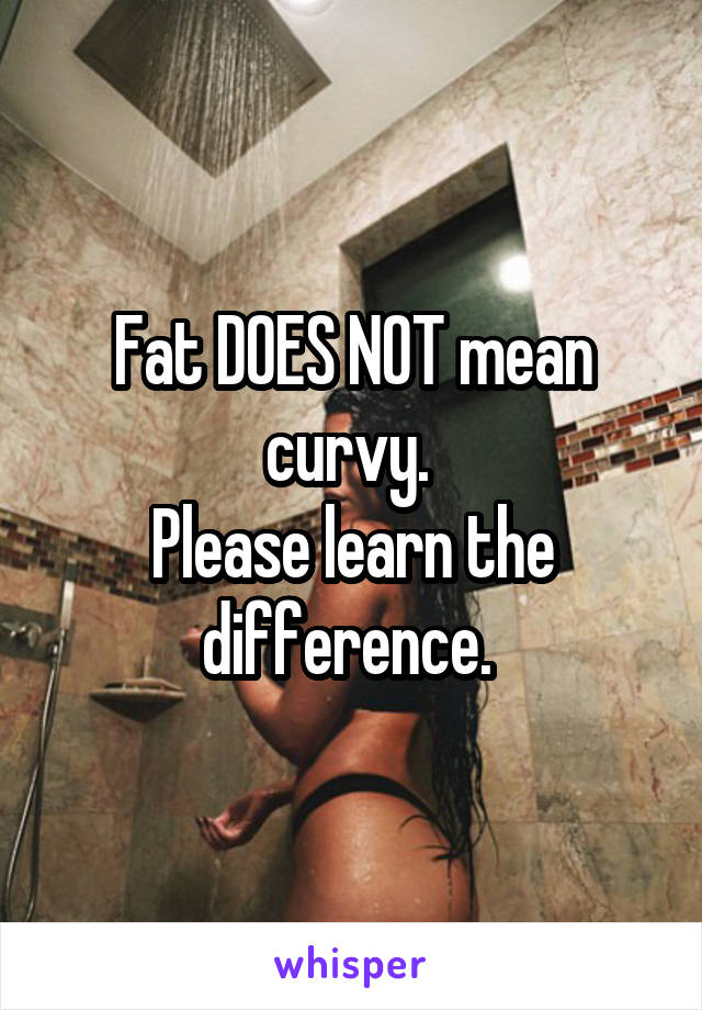 Fat DOES NOT mean curvy.  Please learn the difference.
