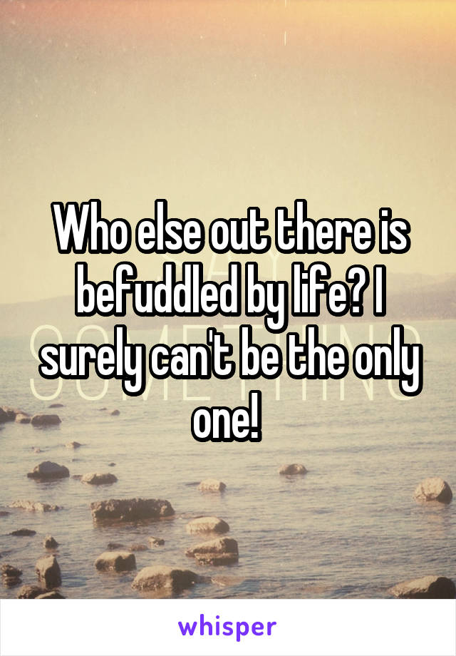 Who else out there is befuddled by life? I surely can't be the only one!