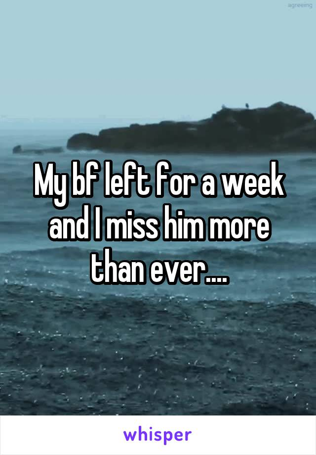 My bf left for a week and I miss him more than ever....