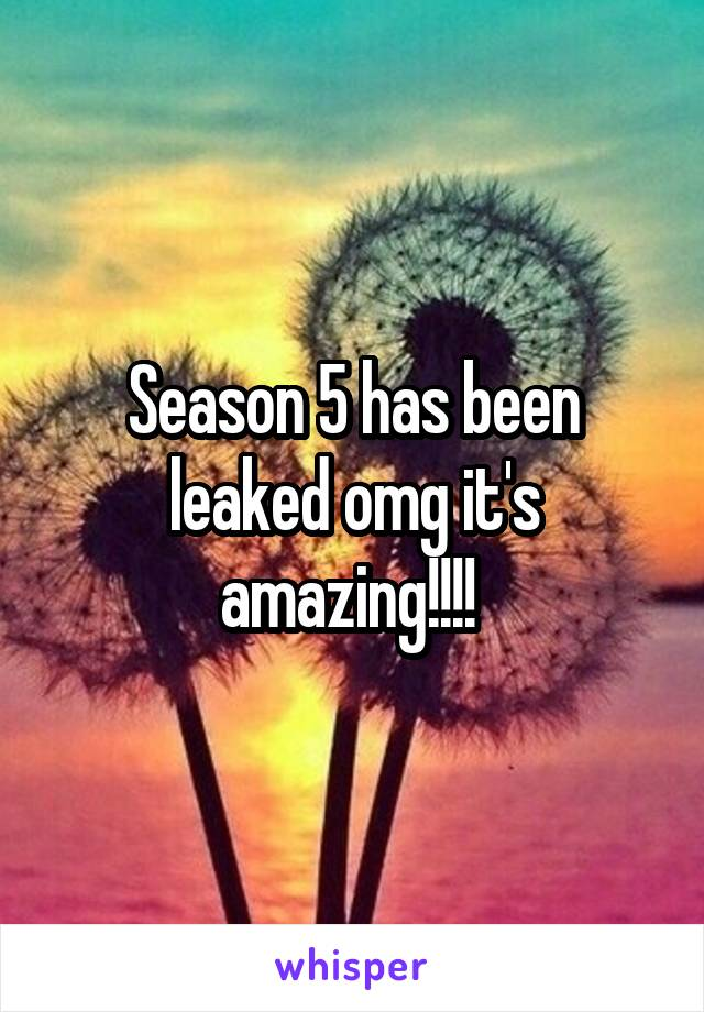 Season 5 has been leaked omg it's amazing!!!!