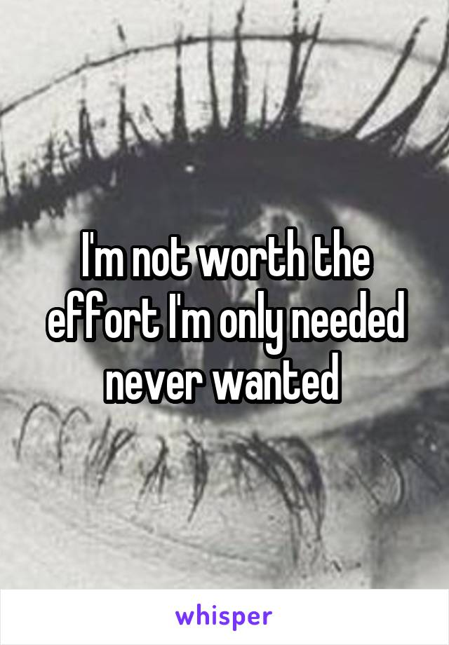 I'm not worth the effort I'm only needed never wanted