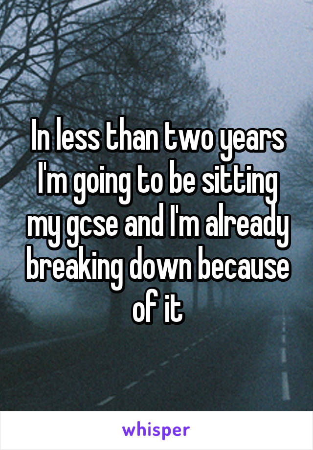 In less than two years I'm going to be sitting my gcse and I'm already breaking down because of it