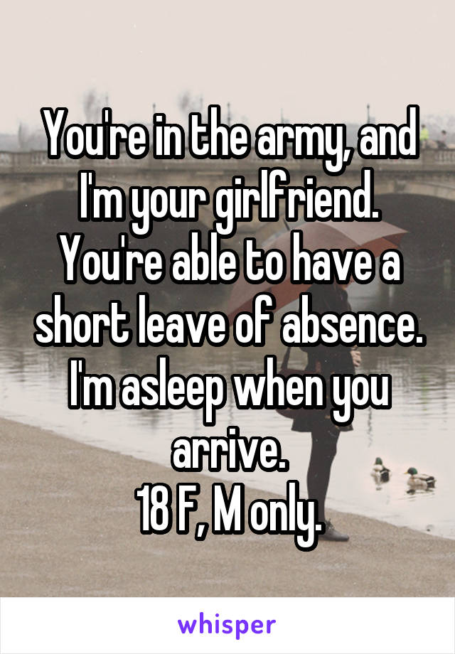 You're in the army, and I'm your girlfriend. You're able to have a short leave of absence. I'm asleep when you arrive. 18 F, M only.