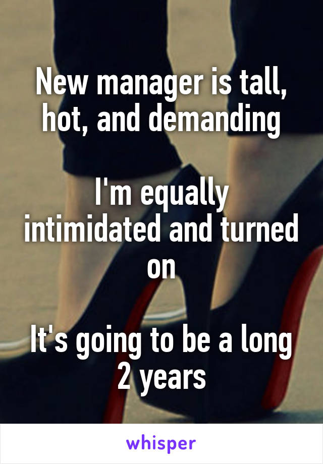 New manager is tall, hot, and demanding  I'm equally intimidated and turned on  It's going to be a long 2 years