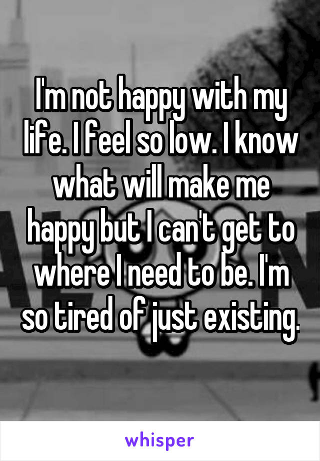 I'm not happy with my life. I feel so low. I know what will make me happy but I can't get to where I need to be. I'm so tired of just existing.