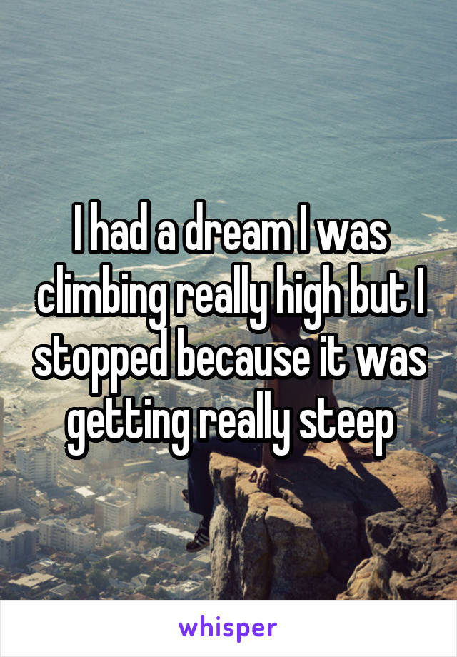 I had a dream I was climbing really high but I stopped because it was getting really steep