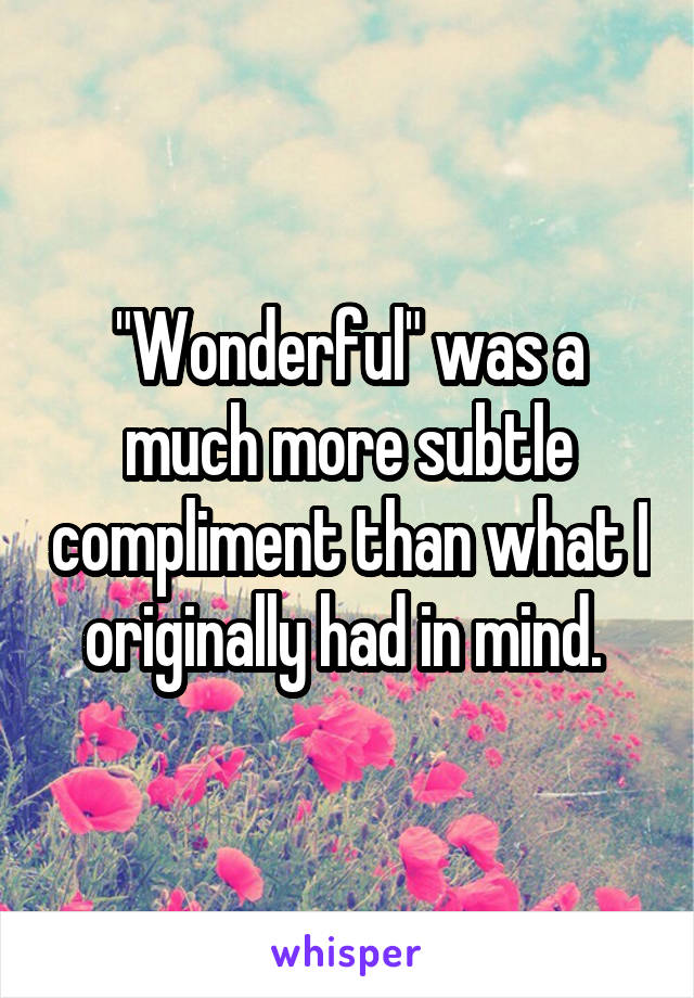 """Wonderful"" was a much more subtle compliment than what I originally had in mind."